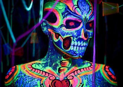 Neon Face & Body Skull